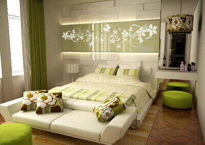 Lovely-Green-Bedroom-With-Green-Bedroom-Colour-Schemes