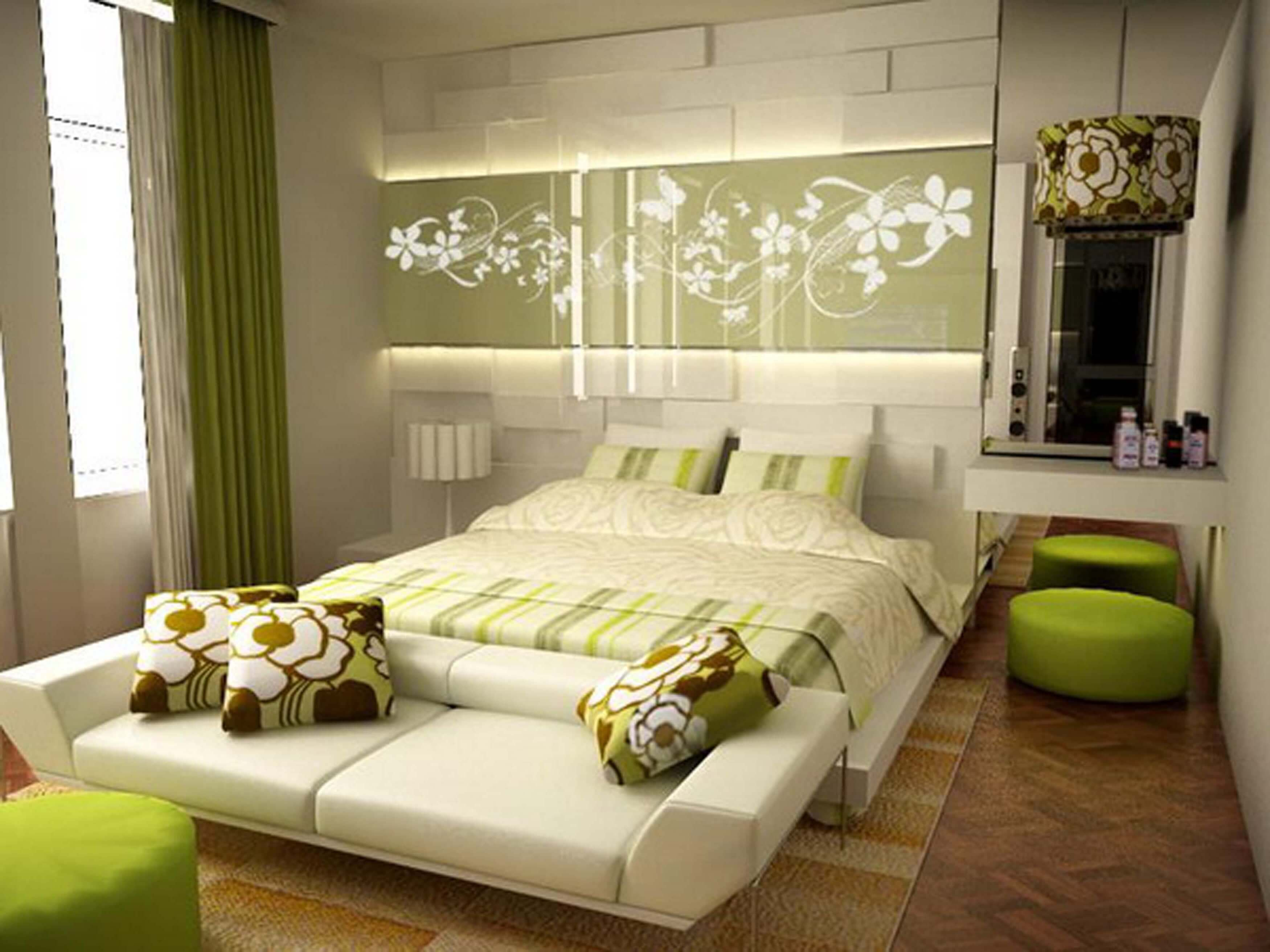 Lovely Green Bedroom With Green Bedroom Colour Schemes Above All